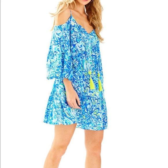 b11d07e67eb19 Alanna off the shoulder dress in blue crush